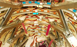 Modern shopping mall. Overall perspective of modern shopping mall Royalty Free Stock Photography