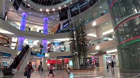 Modern of shopping mall with fisheye len shot stock video footage