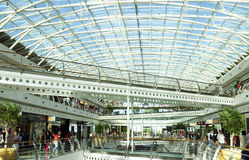 Modern Shopping Center with Glass Ceiling Royalty Free Stock Images