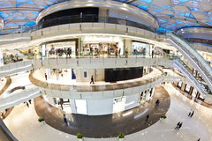 Modern shopping mall. Inside a modern shopping mall, ultra wide angle view Stock Images