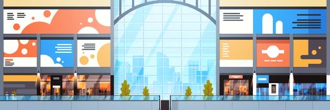 Modern Shopping Mall Interior Big Many Boutiques Design Of Retail Store Horizontal Banner royalty free illustration