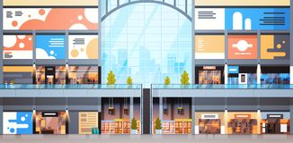 Modern Shopping Mall Interior Big Many Boutiques Design Of Retail Store. Flat Vector Illustration stock illustration
