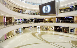 interior modern fashion shopping mall, center hall with shops stores Royalty Free Stock Photos