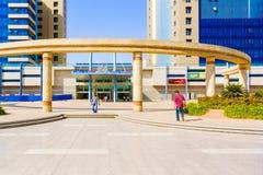 Modern shopping mall in Khartoum. Khartoum, Sudan - January 30, 2015: Entrance to the modern building, shopping mall in Khartoum, Sudan Royalty Free Stock Image