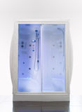 Modern Shower. Luxury shower cabin with hydrotherapy and chromotherapy Stock Photos