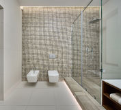 Modern shower room. Shower room in a modern style. Back wall decorated with beige mosaic. On the back wall there is a white bidet, white toilet and switches. On royalty free stock images