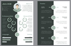 Modern 2 sided cv resume Stock Photo
