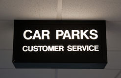 Modern sign for car park and customer service Royalty Free Stock Images