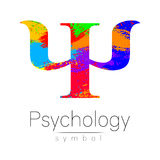 Modern Sign of Psychology. Psi. Creative style. Icon in vector. Design concept. Brand company. Rainbow brush strokes Stock Image
