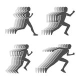 Modern silhouettes of running boy and girl. Royalty Free Stock Photography