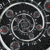 Modern silver black fashion clock watch red clock hands twisted to surreal time spiral. Surrealism clock black clock watch abstrac Stock Image