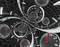 Modern silver black fashion clock watch red clock hands twisted to surreal time spiral. Surrealism clock black clock watch abstrac Royalty Free Stock Photo