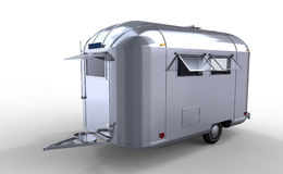 Modern silver caravan / trailer Royalty Free Stock Photo