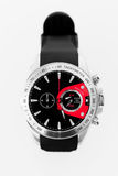 Modern silver chronograph with black and red Stock Photos