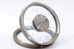 Modern Silver Clock Stock Photography
