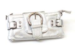 Modern silver clutch purse Stock Image