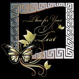 Gold floral greek key meander frame. Place for your text. Modern silver gold meander greek key frame with vintage butterfly, swirl leaves and place for your text Royalty Free Stock Image