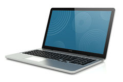 Modern silver laptop Royalty Free Stock Images