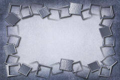 Modern Silver Metallic Frame on Background With Texture Royalty Free Stock Photo