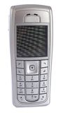 Modern silver mobile phone, isolated Stock Photo