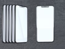 Modern silver smartphone isolated on the white cylinder with contrast shadow. 3d rendering telephone,  showing,  online. Touch,  social,  using,  application Royalty Free Stock Photo