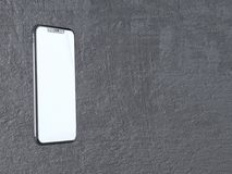 Modern silver smartphone isolated on the white cylinder with contrast shadow. 3d rendering telephone,  showing,  online. Touch,  social,  using,  application Royalty Free Stock Photos