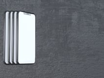 Modern silver smartphone isolated on the white cylinder with contrast shadow. 3d rendering telephone,  showing,  online. Touch,  social,  using,  application Royalty Free Stock Photography