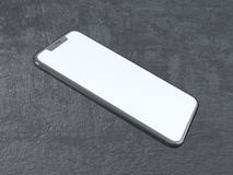 Modern silver smartphone isolated on the white cylinder with contrast shadow. 3d rendering telephone,  showing,  online. Touch,  social,  using,  application Stock Photography