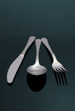 Modern Silver Spoon, Knife, Fo Stock Image