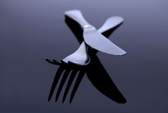 Modern silver spoon, knife, fo Stock Photography