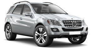 Modern silver suv car. Silver suv car on a white background Royalty Free Stock Photos