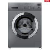Modern Silver Washing machine Royalty Free Stock Photography