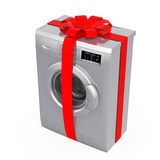 Modern Silver Washing Machine with Red Ribbon and Bow as Gift. 3 Stock Images