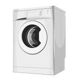 Modern silver washing machine Stock Image