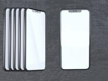 Modern silversmartphone som isoleras på den vita cylindern med kontrastskugga telefon för tolkning 3d, visning, direktanslutet stock illustrationer