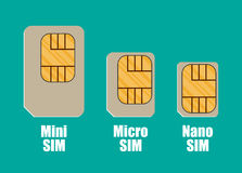 Modern sim card sizes, mini, micro, nano Stock Image