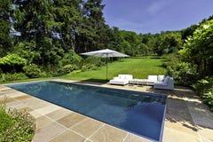 Modern simbassäng i trädgård fotografering för bildbyråer