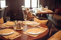 Interior of a restaurant, vintage style, wooden classical furniture Stock Photography