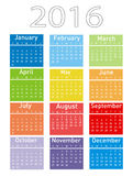 Modern and simple calendar 2016. Vector illustration of a modern and simple calendar 2016 Stock Photos