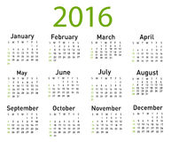 Modern and simple calendar 2016. Vector illustration of a modern and simple calendar 2016 Royalty Free Stock Photography