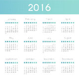 Modern and simple calendar 2016. Week starts from sunday. Vector. Illustration Stock Photos