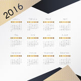 Modern and simple calendar 2016. Week starts from sunday. Vector. Illustration vector illustration