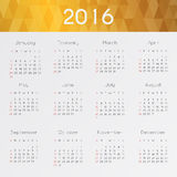 Modern and simple calendar 2016. Week starts from sunday. Vector Stock Photography