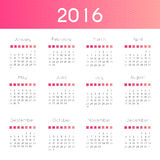 Modern and simple calendar 2016. Week starts from sunday. Vector. Illustration Royalty Free Stock Photos