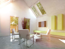 Modern simple cottage living room interior Royalty Free Stock Photos