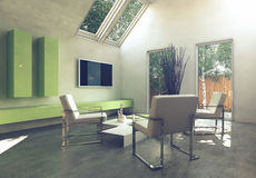 Modern simple cottage living room interior Stock Images