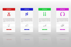 Modern and simple four steps timeline infographics. Four steps infographics with arrow set, outline icons on grey gradient background with shadow and Stock Photos