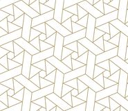 Modern simple geometric vector seamless pattern with gold line texture on white background. Light abstract wallpaper. Bright tile backdrop vector illustration