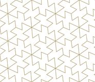 Modern simple geometric vector seamless pattern with gold line texture on white background. Light abstract wallpaper stock illustration