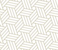 Modern simple geometric vector seamless pattern with gold line texture on white background. Light abstract wallpaper royalty free illustration